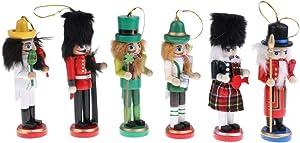 Tongina Nutcracker Ornaments Wooden Nutcracker Figures Christmas Decorations for Xmas Tree, Table Decor - 6PCS Western Style