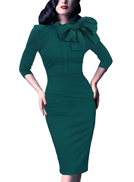 Women's 1950s Retro 3/4 Sleeve Bow Cocktail Party Evening Dress Work Pencil Dress Green XX-Large