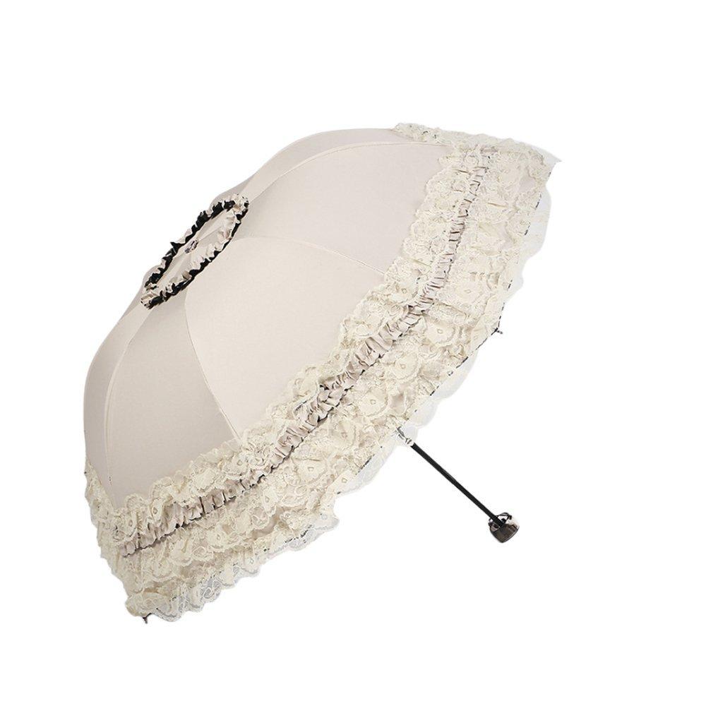 Lubier Grand Soleil Parapluie Creative Dentelle Noir Colle UV Pare-Soleil Parasol Parapluie Princesse Femelle Pliant Double Usage pour Les Filles et Les Dames Size 96*60cm (Beige)