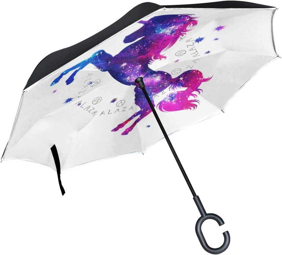 Cosmic Unicorn And Fantasy Stars Double Layer Windproof UV Protection Reverse Umbrella With C-Shaped Handle Upside-Down Inverted Umbrella For Car Rain Outdoor