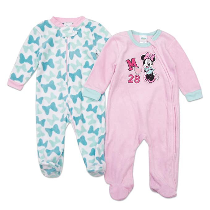 6dd249417 Amazon.com: Disney Minnie Mouse Footie Pajamas - Minnie Mouse Baby Girls Footie  Sleeper - 2 Piece Set (Pink/Bows, 6M-9M): Clothing