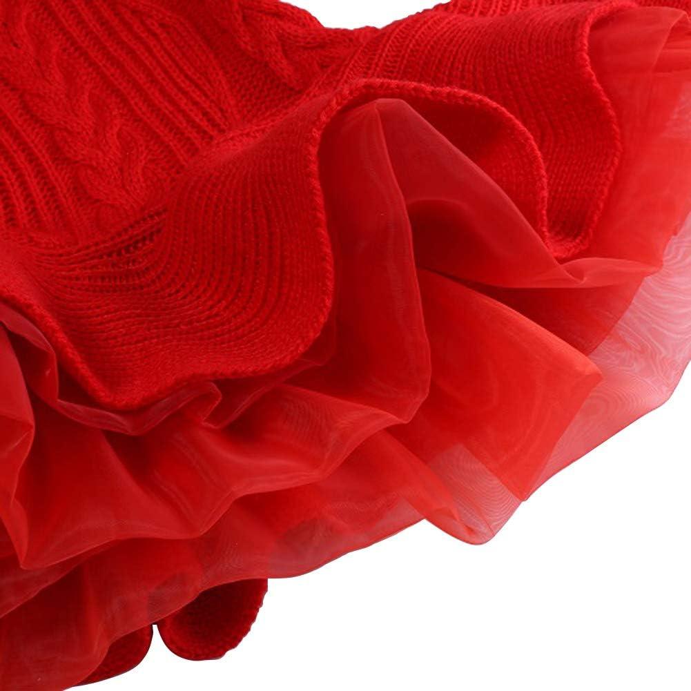 OwlFay Enfants Filles Robe Pull Tricot/ée Couture Survolant /À Volants Tutu Princesse De No/ël Pull Jumper Robes Automne Hiver Pull Crotchet Tops Tricots V/êtements 2-7 Ans