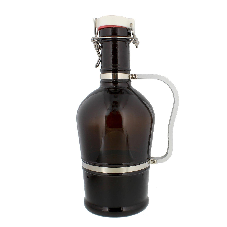 G Francis Amber Glass Growler, 2 Liter (Half Gallon / 64 oz) Beer Jug w/Swing Lid – Secondary Fermentation, Carbonation, Storage
