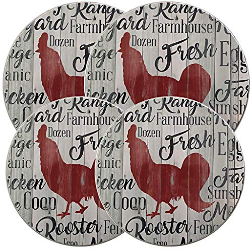 Chicken Decor Stove Burner Covers Rooster Kitchen Decor in a Farmhouse Chicken Sign Style - Set of 4