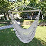 Strong Camel Hanging Tree Swing Cotton Rope Hammock Chair Seat Patio Porch Garden Outdoor 38-inch Wide Seat, Polyester Cotton