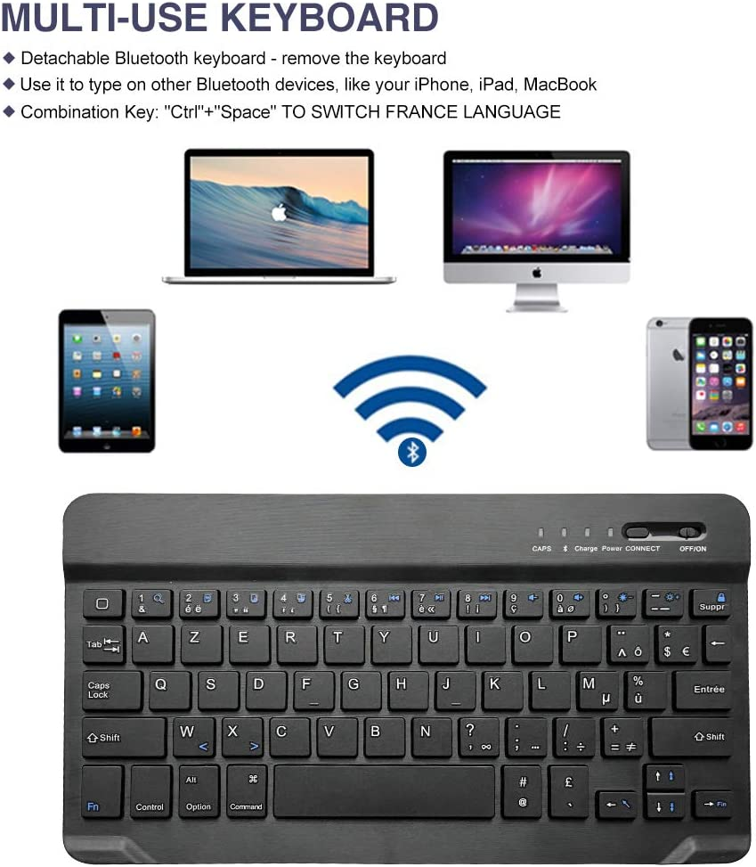 Coque iPad Clavier AZERTY Fran/çais pour Nouvel iPad 2018// iPad 2017// iPad Pro 9,7// iPad Air 2/&1 ipad 9.7 Pouces Bleu Fonc/é Bluetooth Clavier Avec Etui Housse Auto Veille/&R/éveil Rotation 360 degr/és