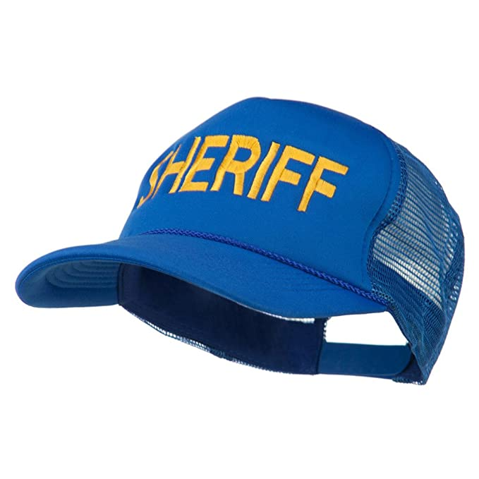 c12c1dbb4ae Sheriff Embroidered Foam Front Mesh Back Cap - Royal OSFM Blue at ...