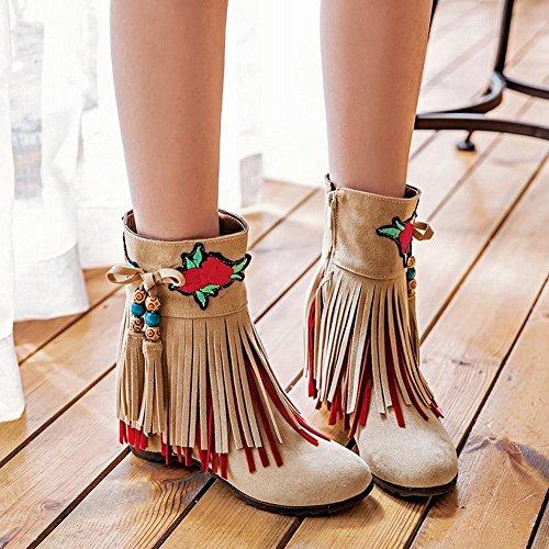 YE Damen Keilabsatz Ankle Boots High Heels Stiefeletten mit Stickerei und Fransen Reißverschluss 6cm Absatz Elegant Schuhe Beige