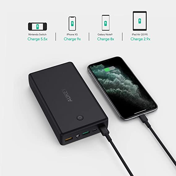 AUKEY USB C Power Bank 30000mAh, Portable Charger with Quick Charge 3.0, Battery Pack Compatible with Nintendo Switch, iPhone Xs/XS Max, Samsung