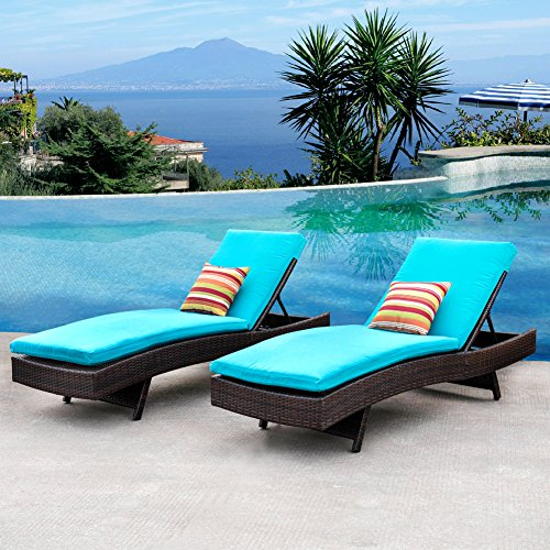 Sundale Outdoor 2PCS Deluxe Patio Adjustable Wicker Chaise Lounge Set with Cushions and 2 Throw Pillows by Sundale Outdoor