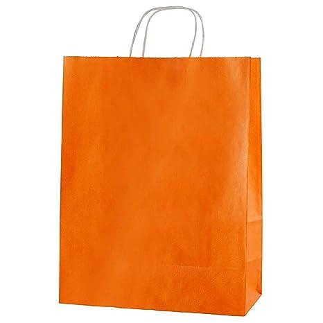 Thepaperbagstore 30 Bolsas De Papel De Colores, Reciclables Y Reutilizables, con Asas Retorcidas - Elija Tamaño Y Color (Medio 250x110x310mm, Naranja)