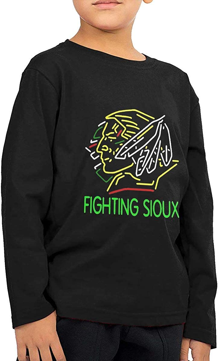 Nickly Fighting Sioux Leisure Outdoor DeepHeather Boys Long Sleeve Tees Crewneck Cotton Soft Children T-Shirt Clothes Outfit