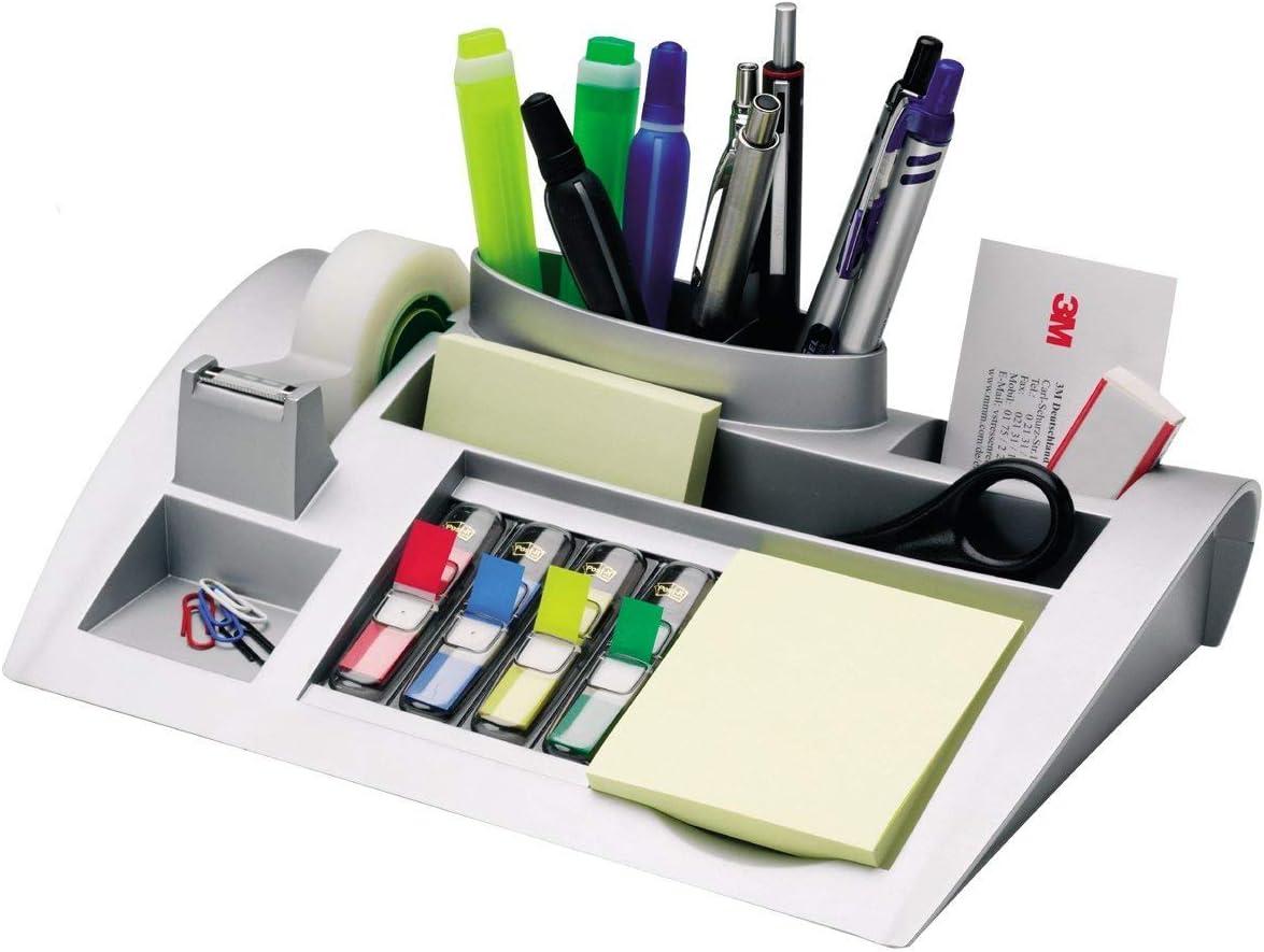 3M Post-it C50 - Organizador de escritorio – Incluye 1 bloc de notas, 4 x 35 Marcadores Index y 1 cinta adhesiva Scotch Magic – Dispensador de notas – Portalápices – color plateado