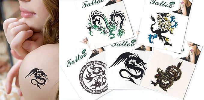 Amazon.com: 5 Mix Dragones temporal tatuaje/5 Mini Pack ...