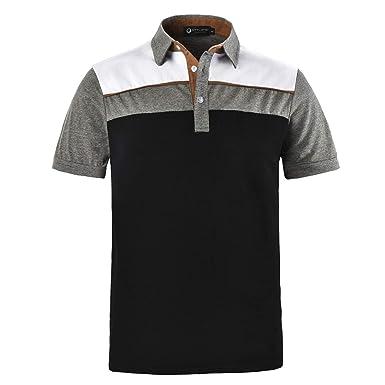 70f700eb STTLZMC Men's Short Sleeve Rubgy Polo Shirts Classic Cotton Sewn Stripe T- Shirt at Amazon Men's Clothing store: