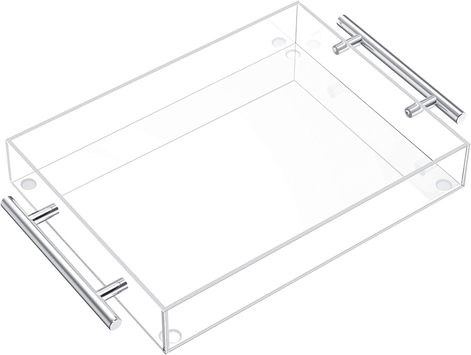 Clear Serving Tray 12x12 Acrylic Decorative Tray with Handles