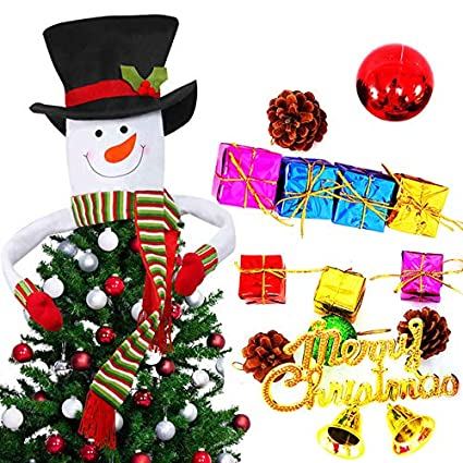 takefuns snowman top hat christmas tree topper decor holiday15 pcs assorted shatterproof christmas balls - Top Hat Christmas Decorations