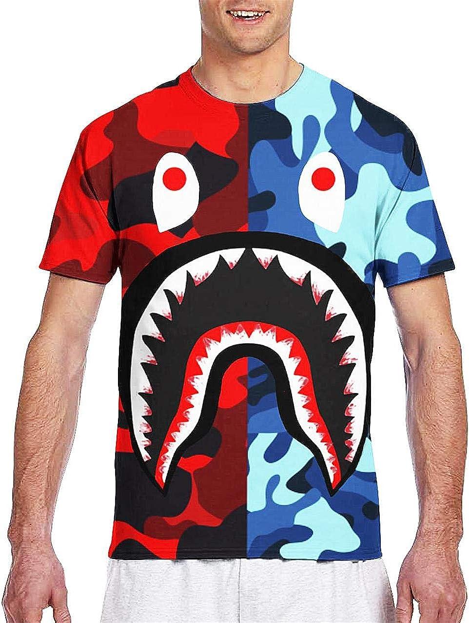 Moc.Deamiarr Bape Blood Shark Shirt 3D Print Big Mouth Shark t Shirt for Youth Teen Boys Mens