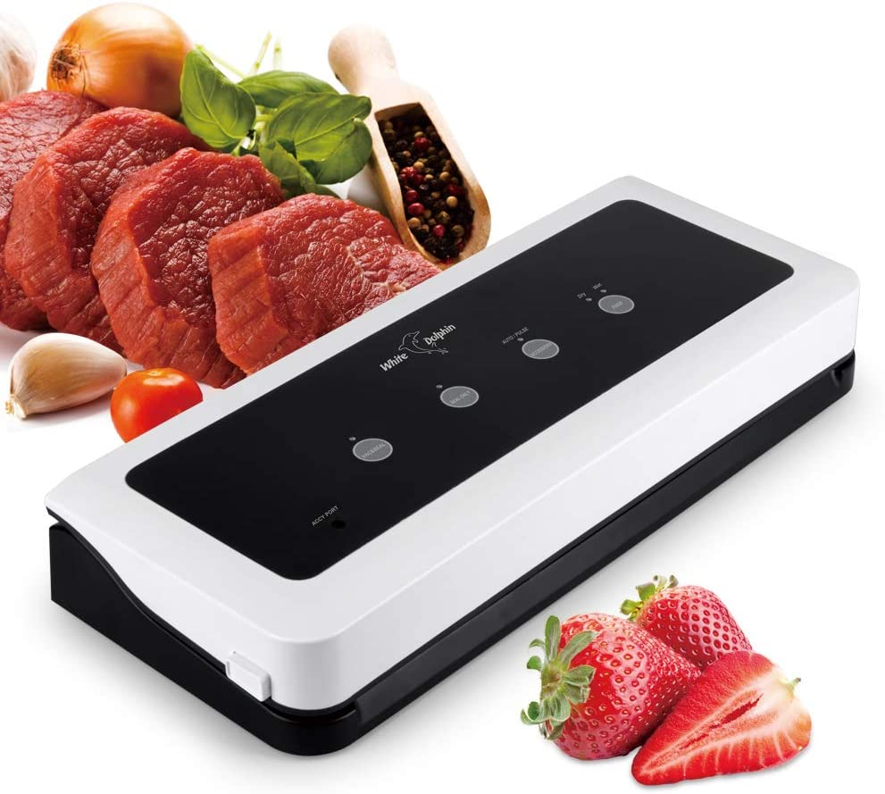 Vacuum Sealer Machine, White Dolphin Food Sealers Packing Meat Seal a Meal Saver Automatic with 10 Bags Start Kit