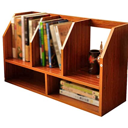 RSDBNHDL Small Bookshelf Creative Desktop Storage Rack Document Finishing Study Office Bookcase Modern MDF 602035Cm