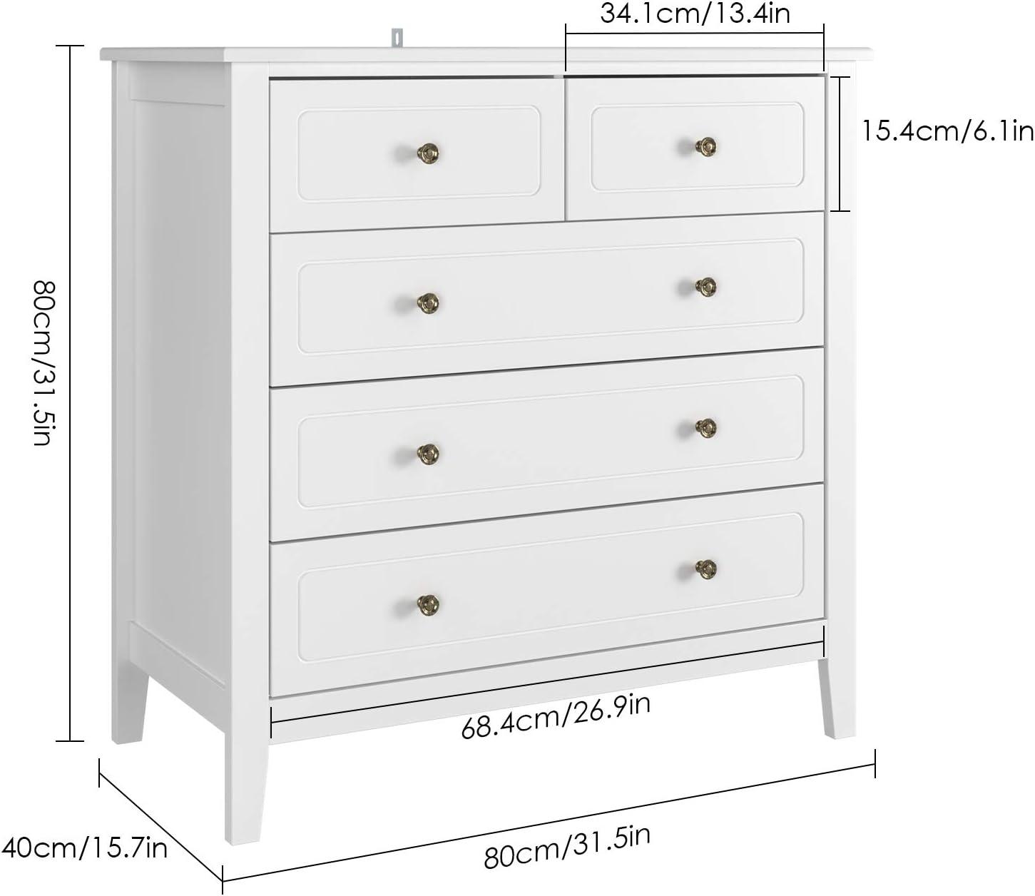 Homfa Meuble de Rangement Meuble de Salle de Bain Armoire avec 5 Tiroirs pour Chambre Salon Cuisine en Bois 80/×40/×80cm Blanc