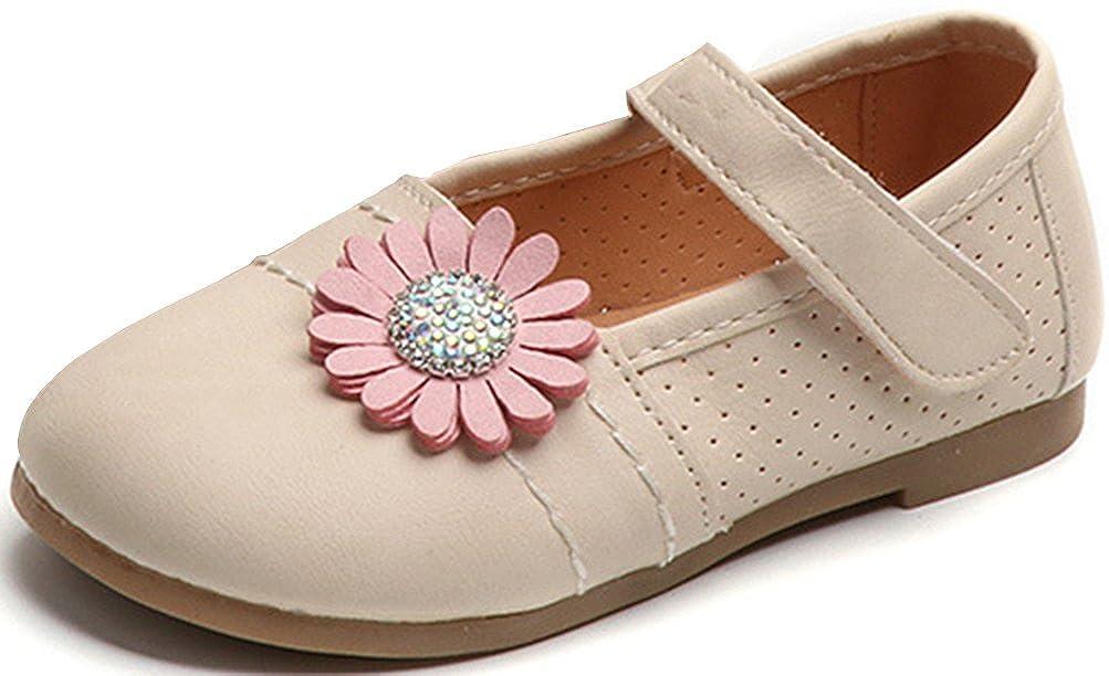 VECJUNIA Baby Girls Ptetty Bow Low Top Breathable Waterproof Anti Skid Zip Up Sneakers Toddler//Little Kid