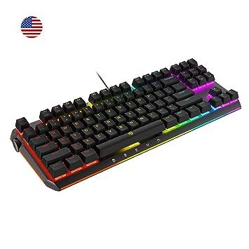 DREVO BladeMaster TE Teclado Mecánico Gaming Radi RGB Retroiluminado, Genius Knob Programable 87K QWERTY US layout [Lineral silencio Gateron Interruptor ...