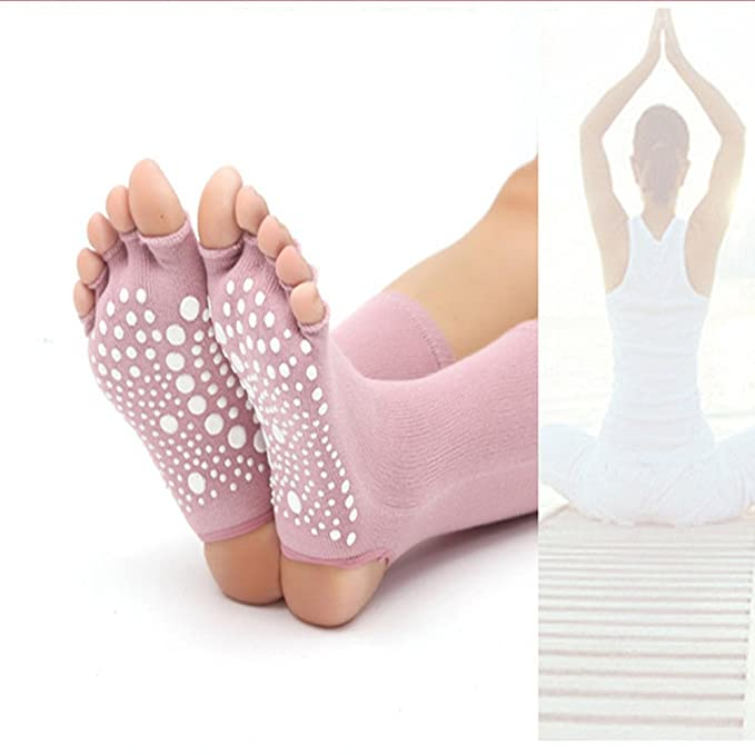 Amazon.com: EBRICKON 2 Pairs Yoga Toe Socks Women Open Toed Non Slip Cotton Calcetines Deporte Fitness Sox Compression Pilates Yoga Socks (Black): Sports & ...