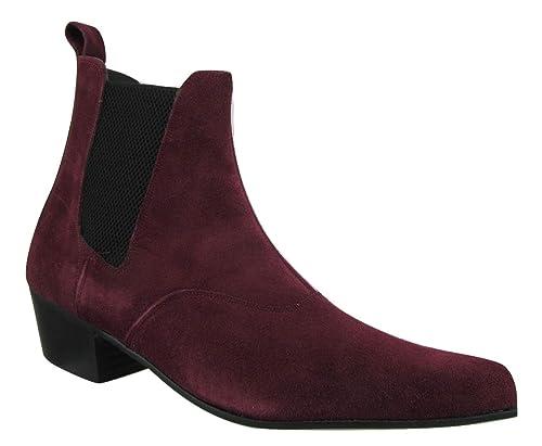 Retro para hombre Burgundy rojo ante botas de Chelsea Beat cubano Beatle tacón señaló Toe, color Rojo, talla 47: Amazon.es: Zapatos y complementos