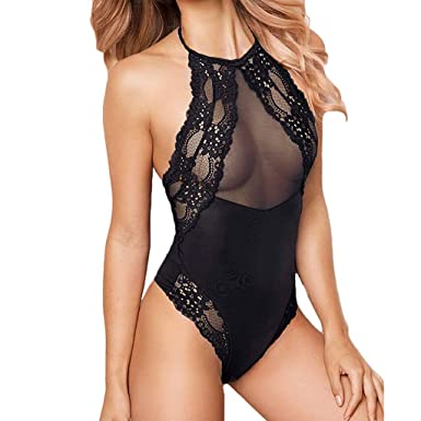 05731f4b3c Women One Piece Lingerie Sexy Lace Mesh Bodysuit Crotch Teddy Babydoll  Underwear (S