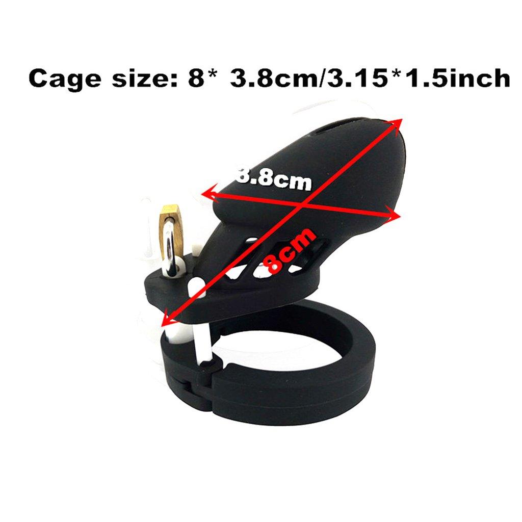 HFF Dispositivo de castidad de los hombres adultos Silicona Color negro CB Jaula Bloqueo Pene Productos adultos hombres Juguetes sexuales (8 * 3.8 cm) 9ffeff