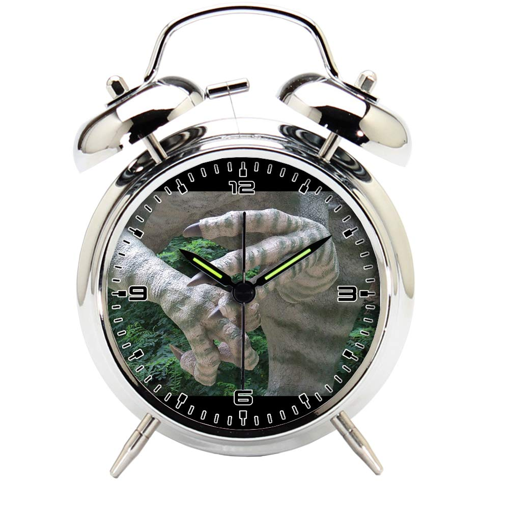 Children's Room Silver Dinosaur Silent Alarm Clock Twin Bell Mute Alarm Clock Quartz Analog Retro Bedside and Desk Clock with Nightlight-376.476_Dinosaur, Park, Prehistoric Times, Animal, Predator