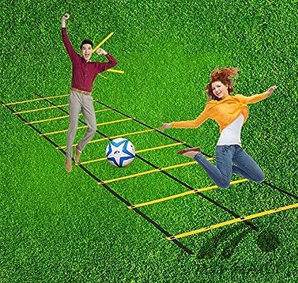 JYxlj Escalera de Agilidad de Doble Botonadura Obstáculo de Entrenamiento Multifuncional para el Entrenamiento de líder de fútbol/Baloncesto Agilidad de reacción Obstáculos 6M 12Rung: Amazon.es: Deportes y aire libre
