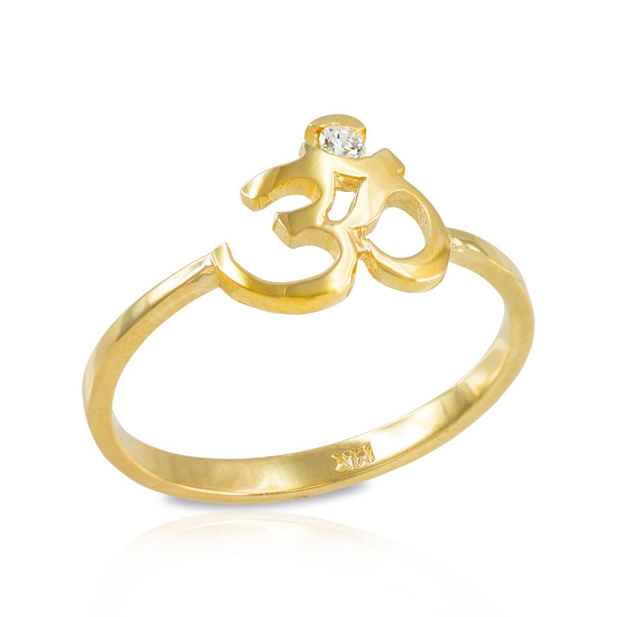 Women's 14k Yellow Gold Dainty Yoga Band Diamond Om Ring (Size 5)