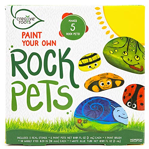 CREATIVE ROOTS Paint Your Own Rock Pets by Horizon Group USA, 6 Colors, Paint Brush, Wiggly Eyes and Glue Included