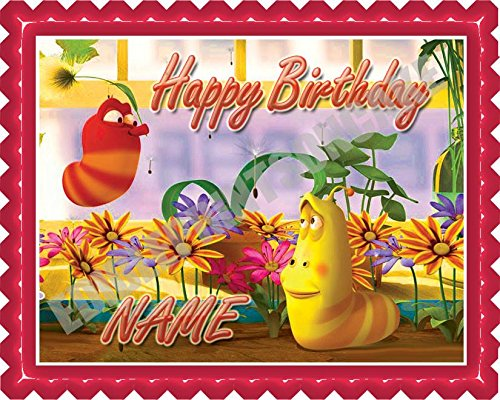 Larva Edible Birthday Cake OR Cupcake Topper - 10 x 16' rectangular inches