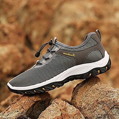 Summer Shoes Walking Mesh Climbing Breathable Men's Grey Sports On Slip Outdoor Shoes raTrfqwg