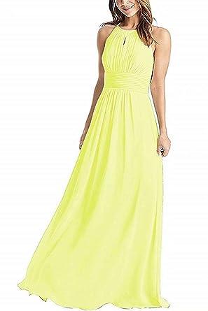 44130adf4bf5 JYDX Halter Yellow Bridesmaid Dresses Long A-Line Pleated Empire Waist  Chiffon Prom Dress Size