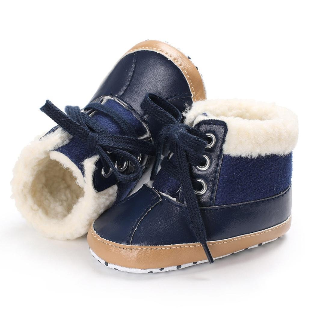 Iuhan Baby Girls Boys Soft Sole Leather Snow Boots Warm Crib Anti-slip Toddler Shoes