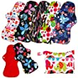Simfamily 6 Pack Red Color Microfleece Reusable Waterproof Printed Heavy Flow Cloth Menstrual Pads Set Sanitary Napkin Pads