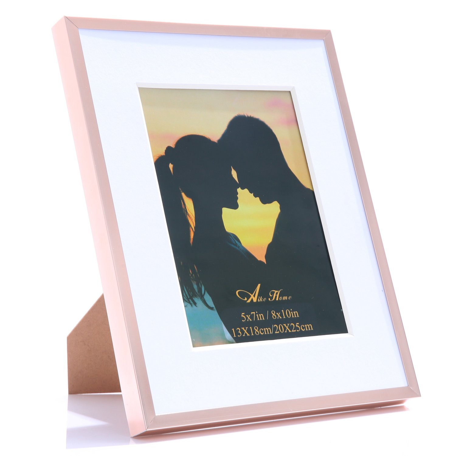 Aike Home Metal Picture Photo Frame Collection Aluminum Rose Gold Color 8x10 Inch Size with White Color Bevel 2MM Thickness Mat 5x7 Inch Opening Plexiglass