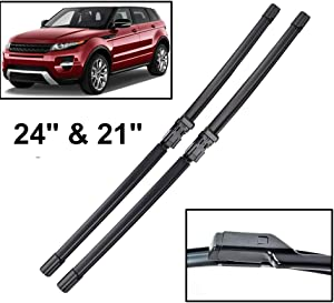 """Xukey 24"""" 21"""" Front Windshield Wiper Blades Fit For Land Rover Range Rover Evoque 2011-2017(Set of 2)"""