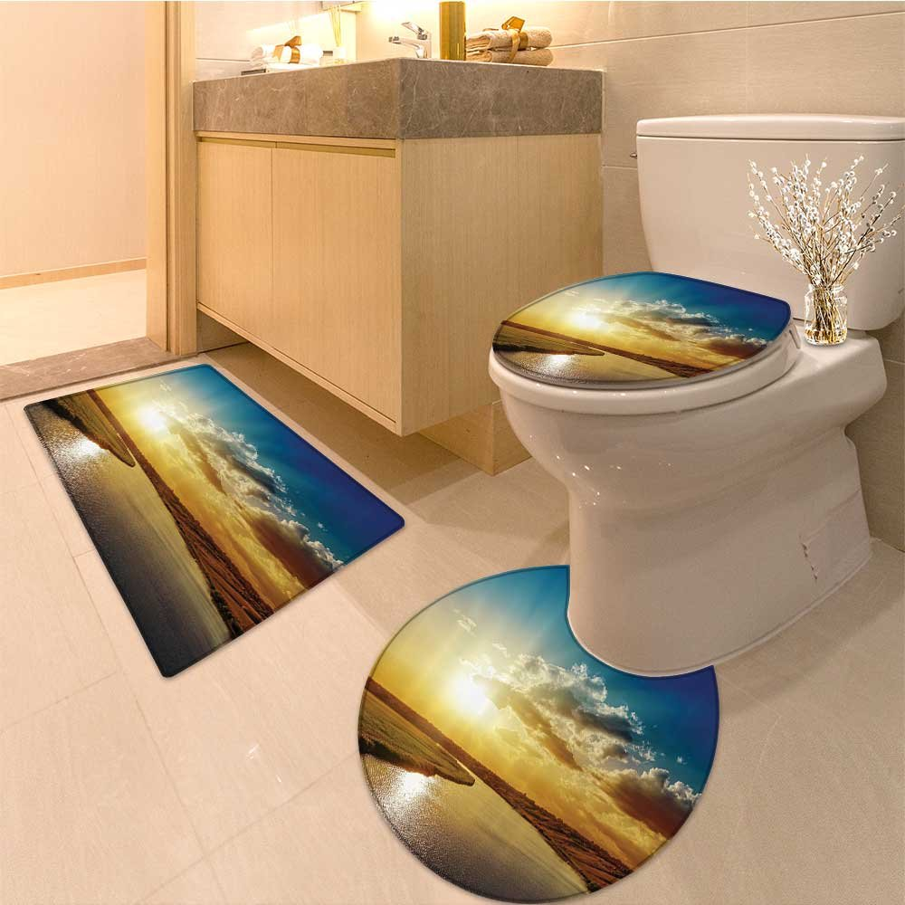 3 Piece large Contour Mat set Corridor Of Futuristic Spaceship Inside Technology Building Indoor Artwork Print Whi Bathroom Rugs Contour Mat Lid Toilet Cover by NALAHOMEQQ (Image #1)