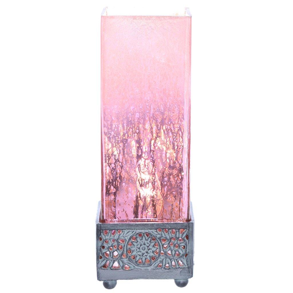 12.9''H Studio Art Mercury Glass Square Uplight Accent Lamp - Light Pink/Dark Pink Ombre