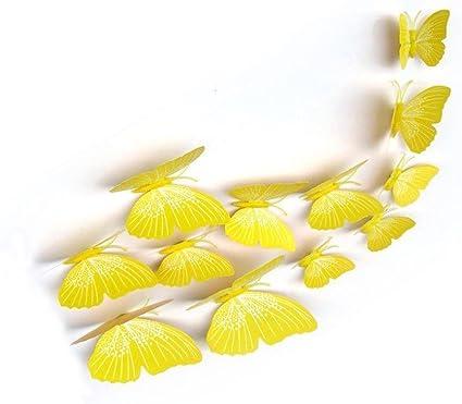 12x 3D Papillon Chambre Sticker Mural Daimant De Refrigerateur Decor Autocollant Applique Rose R SODIAL 3D Papillon Sticker Mural