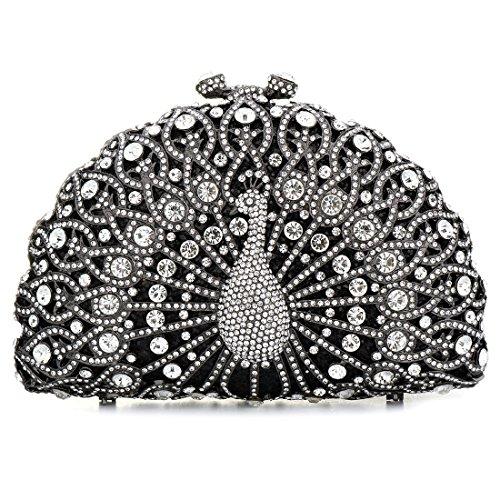SSMY Luxury Crystal Clutches For Women Peacock Clutch Evening Bag (Black) Crystal Designer Handbag