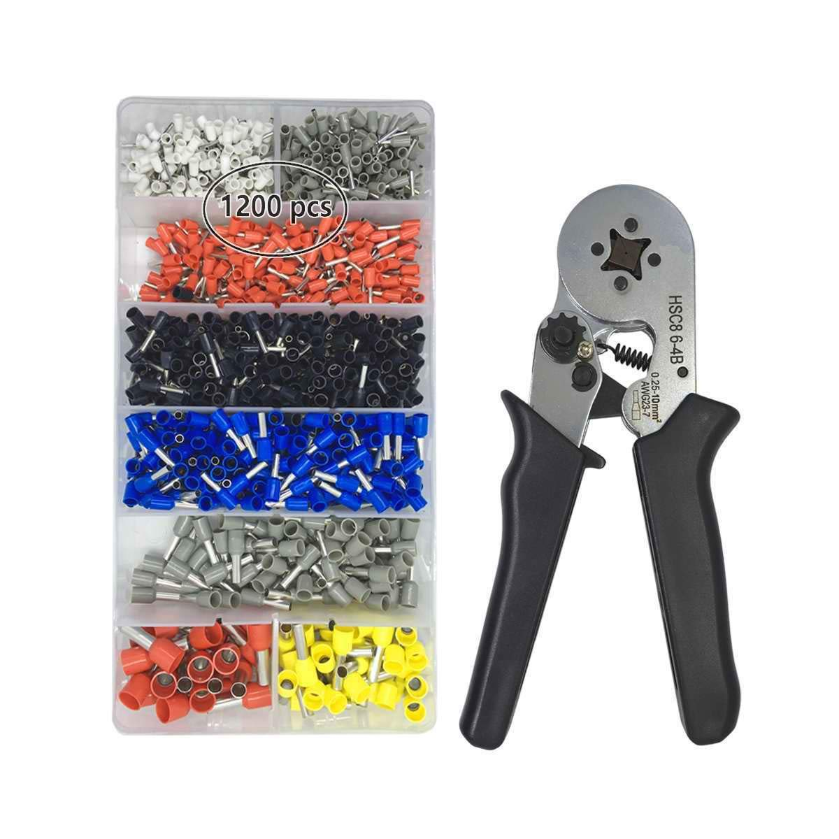 Crimper Plier Set VLIKE Wire Crimping Tool Kit w/ 1200 Terminal Connector Sleeves | Electricians, Contractors, Repair Support | Ferrule Crimper Pliers for Stripper, Wiring Projects
