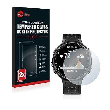 savvies Cristal Templado Compatible con Garmin Forerunner 235 (2 Unidades) Protector Pantalla Vidrio Proteccion 9H Pelicula Anti-Huellas