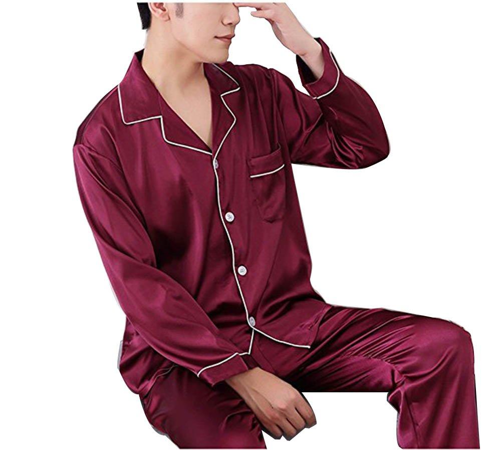 Respeedime Autumn Home Service Silk Pajamas Summer Men 's Long Sleeved Trousers Sets Sleepwear Wine Red Size XL