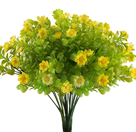 Pianta Fiori Gialli Primavera.Nahuaa 4 Pz Fiori Artificiali Da Esterno Fiore Giallo Magnolia Di
